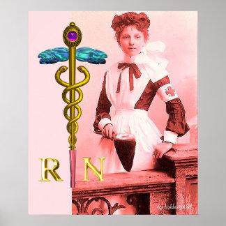 VINTAGE NURSE and Gold Caduceus NR Emblem Poster