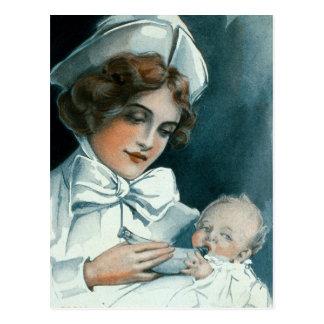 Vintage Nurse Baby Forumla Advertisement Postcard