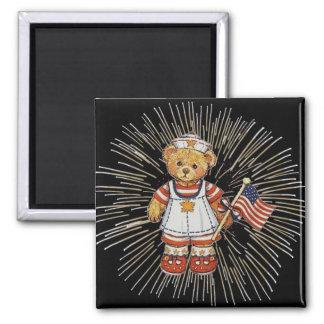 Vintage Nurse Bear with Modern White Fireworks 2 Inch Square Magnet