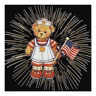Vintage Nurse Bear with Modern White Fireworks Card