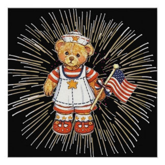 Vintage Nurse Bear with Modern White Fireworks Personalized Invitation