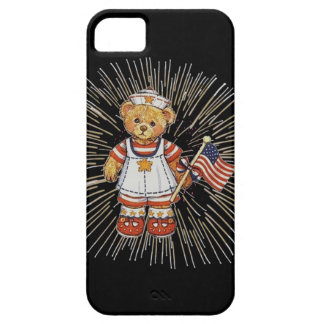 Vintage Nurse Bear with Modern White Fireworks iPhone SE/5/5s Case