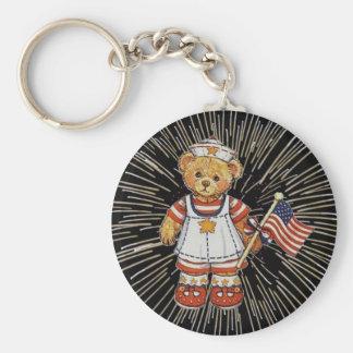 Vintage Nurse Bear with Modern White Fireworks Keychain