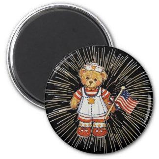 Vintage Nurse Bear with Modern White Fireworks Magnet