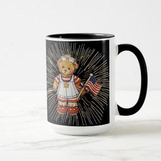 Vintage Nurse Bear with Modern White Fireworks Mug