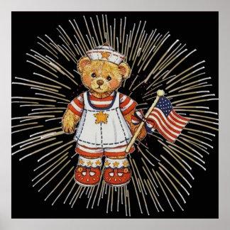 Vintage Nurse Bear with Modern White Fireworks Poster