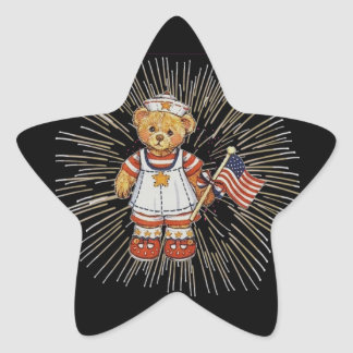 Vintage Nurse Bear with Modern White Fireworks Star Sticker