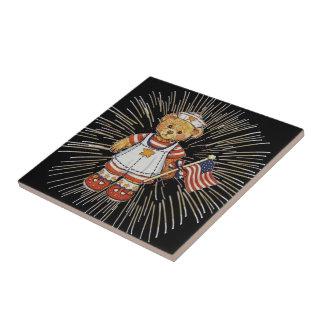 Vintage Nurse Bear with Modern White Fireworks Tile