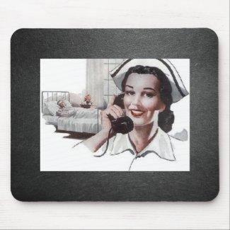 Vintage Nurse Black and White mousepad