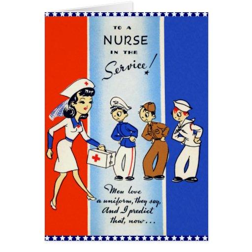 Vintage Nurse In The Service Card