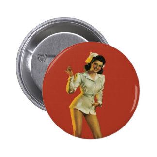Vintage Nurse Pinup Pinback Button
