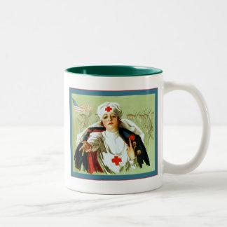 Vintage Nurse Poster ~ World War 1 Two-Tone Coffee Mug