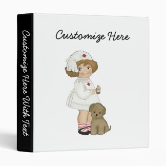 Vintage Nurse With Puppy T-shirts and Gifts 3 Ring Binder