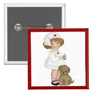 Vintage Nurse With Puppy T-shirts and Gifts Pinback Buttons