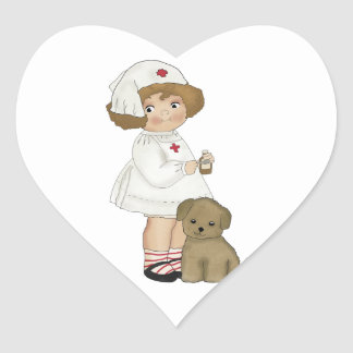 Vintage Nurse With Puppy T-shirts and Gifts Heart Sticker