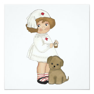 """Vintage Nurse With Puppy T-shirts and Gifts 5.25"""" Square Invitation Card"""
