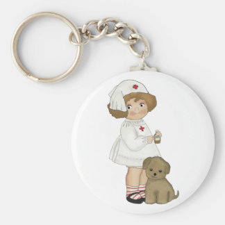 Vintage Nurse With Puppy T-shirts and Gifts Keychain