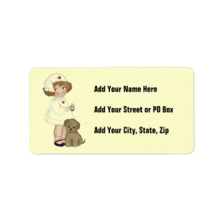 Vintage Nurse With Puppy T-shirts and Gifts Personalized Address Labels