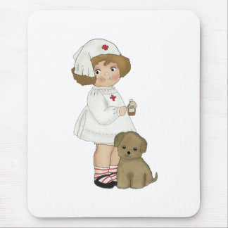Vintage Nurse With Puppy T-shirts and Gifts Mousepad