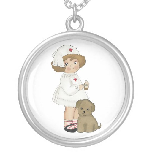 Vintage Nurse With Puppy T-shirts and Gifts Personalized Necklace
