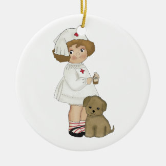 Vintage Nurse With Puppy T-shirts and Gifts Ornament