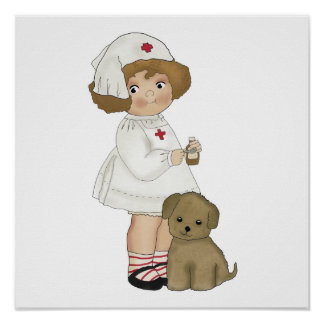 Vintage Nurse With Puppy T-shirts and Gifts Poster