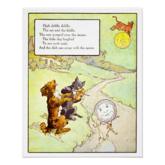 Vintage Nursery Print- Cat and the Fiddle Poster