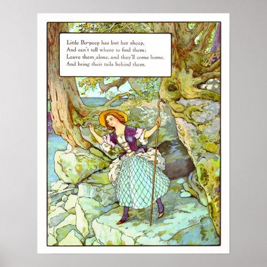Vintage Nursery Print- Little Bo-Peep Poster