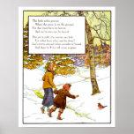 Vintage Nursery Print- The Little Robin Poster