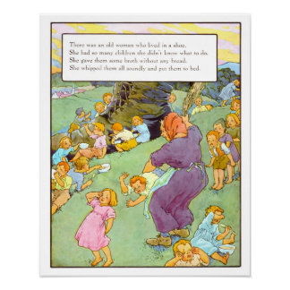 Vintage Nursery Print- There Was An Old Woman Poster