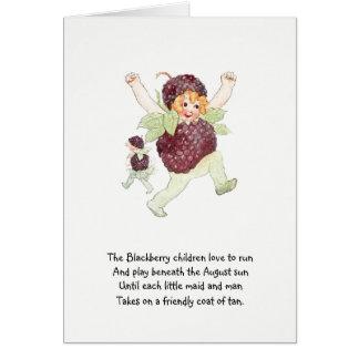 Vintage Nursery Rhyme Flower Child Blackberry Cute Card