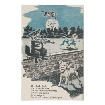 Art Themed Vintage Nursery Rhyme Hey Diddle Diddle Poster