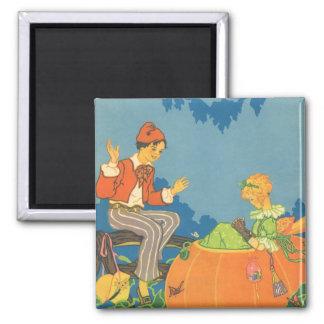Vintage Nursery Rhyme, Peter Peter Pumpkin Eater 2 Inch Square Magnet