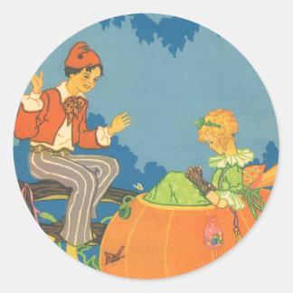 Vintage Nursery Rhyme, Peter Peter Pumpkin Eater Classic Round Sticker