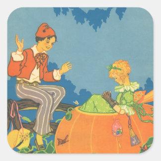 Vintage Nursery Rhyme, Peter Peter Pumpkin Eater Square Sticker