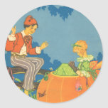 Vintage Nursery Rhyme, Peter Peter Pumpkin Eater Round Sticker
