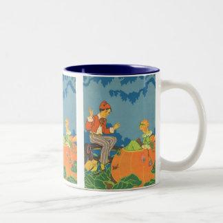 Vintage Nursery Rhyme, Peter Peter Pumpkin Eater Two-Tone Coffee Mug
