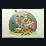 """Vintage Nursery Rhyme, Sing a Song of Sixpence Cloth Placemat<br><div class=""""desc"""">Vintage illustration classic children&#39;s fairy tales and nursery rhyme story book design from Sing a Song of Sixpence featuring his royal majesty the King eating his pie surrounded by blackbirds.  Sing a song of sixpence,   A pocket full of rye.  Four and twenty blackbirds,   Baked in a pie.</div>"""