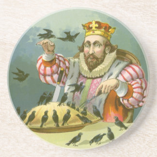 Vintage Nursery Rhyme, Sing a Song of Sixpence Drink Coaster