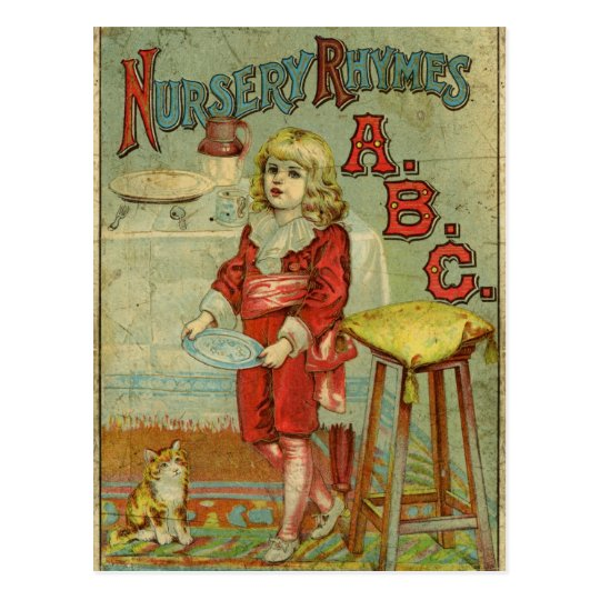 Vintage Children S Book Cover Prints ~ Vintage nursery rhymes abc children s book cover postcard