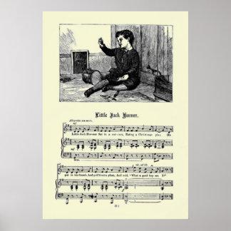 Vintage Nursery Rhymes Image - Little Jack Horner Poster
