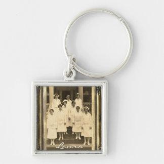 Vintage Nurses II Personalized Square Keychain