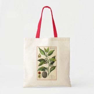 Vintage Nutmeg Plant Fruit Seeds, Food Herbs Spice Tote Bag