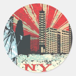 Vintage NY en rojo Pegatina Redonda