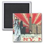 Vintage NY in Red Fridge Magnets