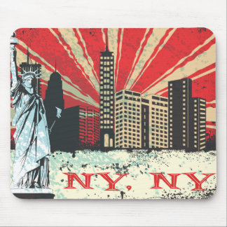Vintage NY in Red Mouse Pads