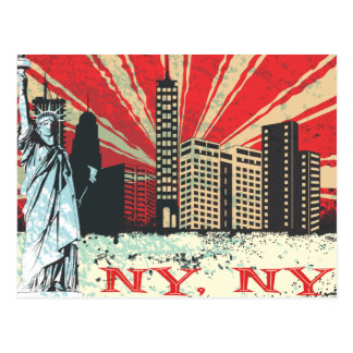Vintage NY in Red Postcard