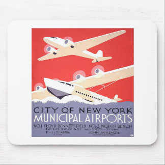 Vintage NYC Airport Advertisement Mouse Pad