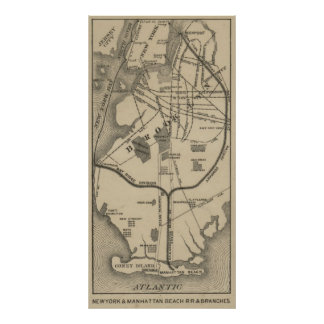 Vintage NYC and Brooklyn Beach R.R. Map (1879) Poster