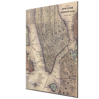 Vintage NYC and Brooklyn Map (1847) Canvas Print
